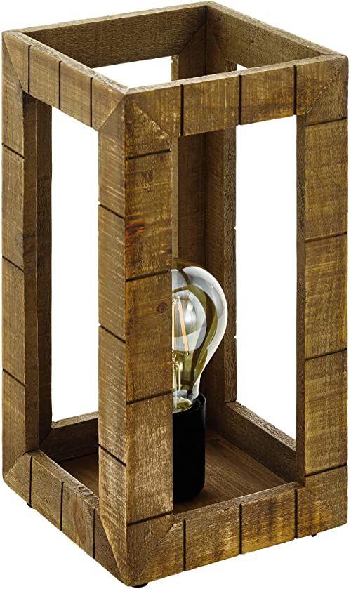 EGLO Lampa stołowa Takhira, lampa stołowa w stylu vintage, retro, rustykalna, lampka nocna ze stali i drewna, lampa do salonu w kolorze czarnym, brązowym, lampa z przełącznikiem, oprawka E27