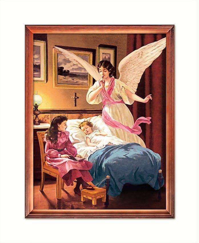 Obraz religijny z Aniołem Stróżem