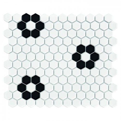 Mozaika Dunin Hexagonic MINI HEXAGON B&W FLOWER