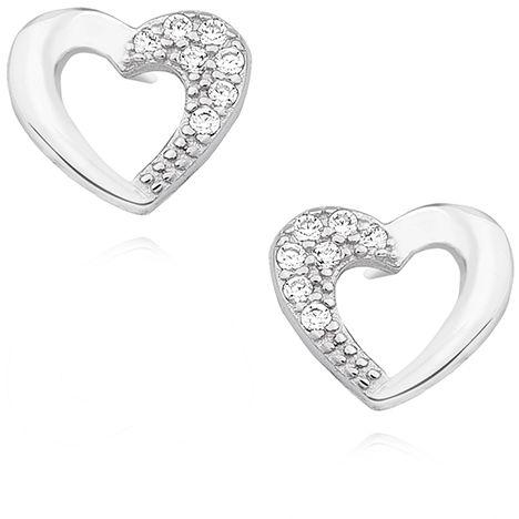 Delikatne rodowane srebrne kolczyki serca serduszka z cyrkoniami srebro 925 Z1421E