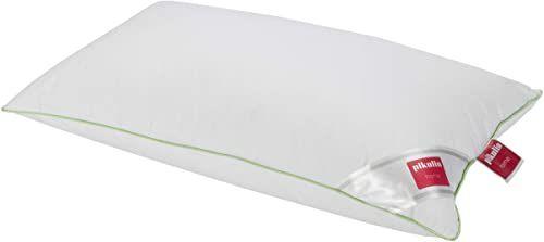 Pikolin Home poduszka pod głowę przeciwko roztoczom, 70% pierza gęsiego, 100% egipska bawełna, Vivo w kolorze zielonym, 40 x 90 cm, biała