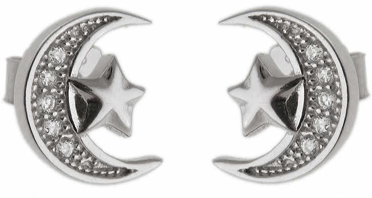 Eleganckie srebrne kolczyki celebrytki ksieżyc gwiazdka moon star białe cyrkonie srebro 925 K2611
