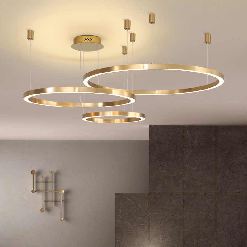 Duża lampa wisząca ring złota 80cm 127Watt L138
