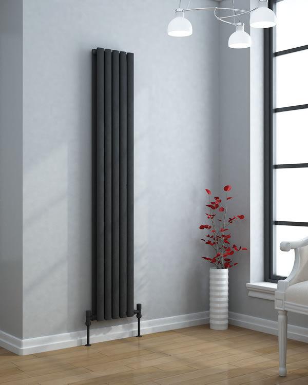 Grzejnik pionowy dekoracyjny VERTICA 420/1500 mm pojedynczy - biały