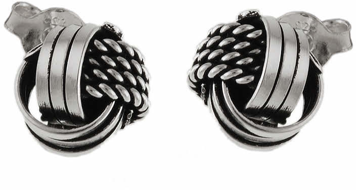 Eleganckie oksydowane srebrne kolczyki pęczki pętelki supełki srebro 925 K2652