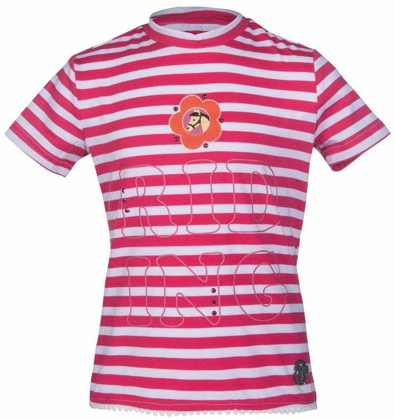 HKM Koszulka polo 1139139121396 różowa/biała 134/140