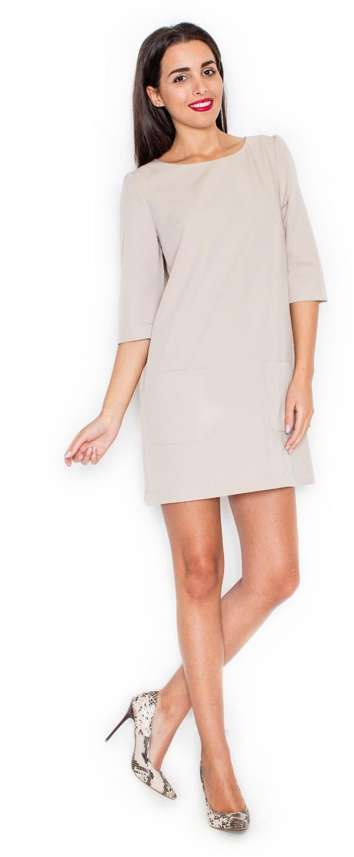 Beżowa trapezowa sukienka z nakładanymi kieszeniami