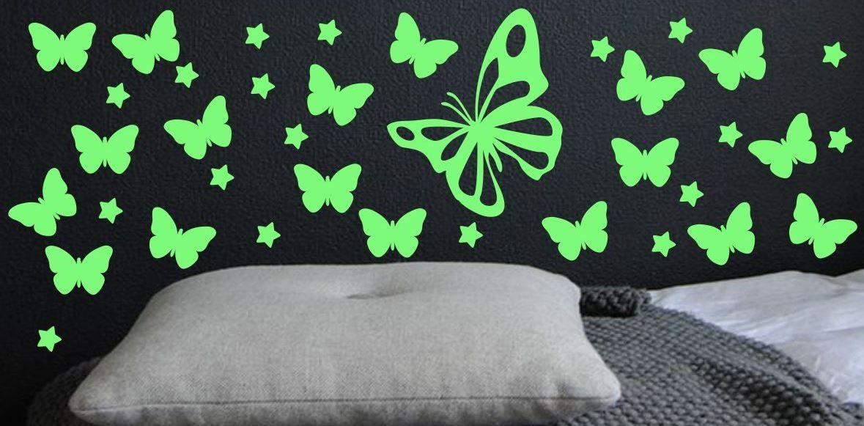 Naklejka świecąca w nocy motyle i gwiazdki