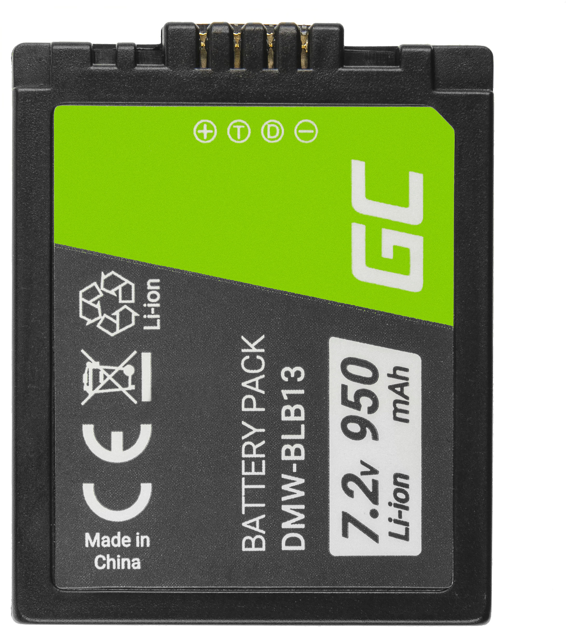 Akumulator Bateria Green Cell  BLB13 do Panasonic Lumix DMC-G1KEB G1WEG G1KEG G1WEB GH1 GF1 G1R, Full Decoded, 7.2V 950mAh