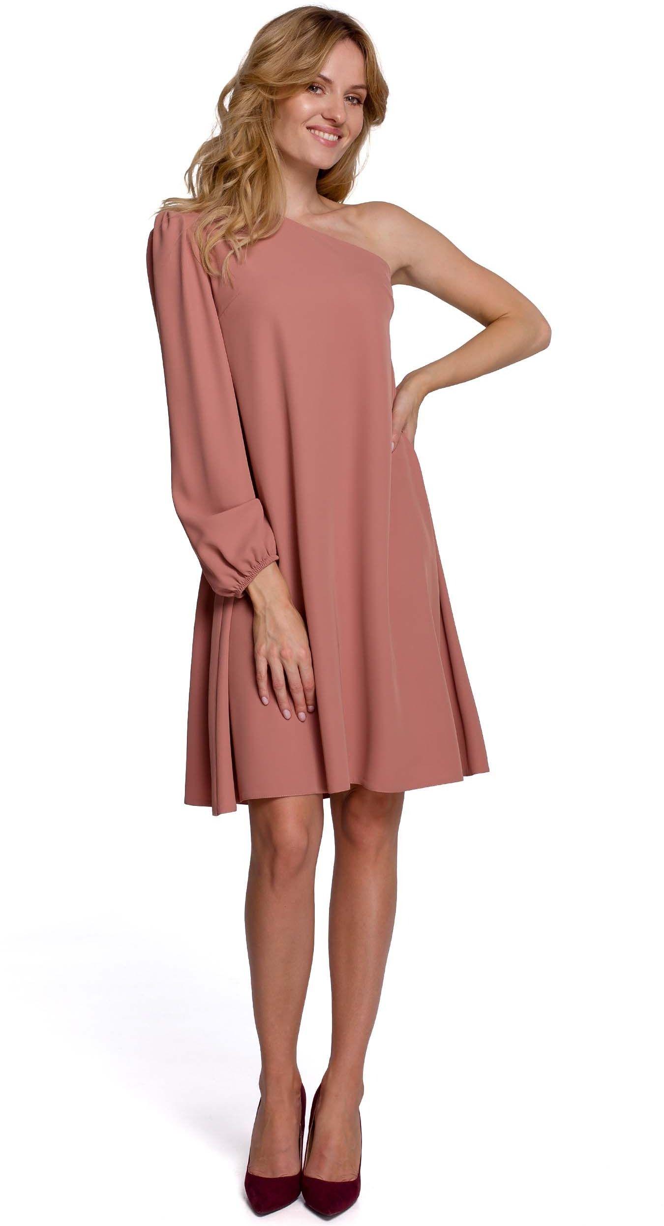 Luźna sukienka na jedno ramię - różowa