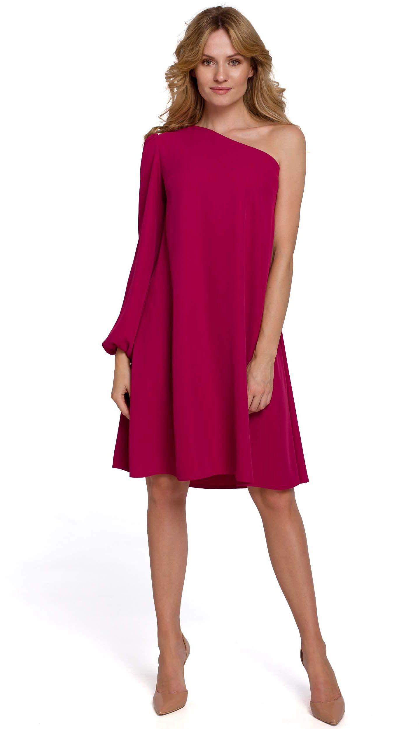 Luźna sukienka na jedno ramię - śliwkowa