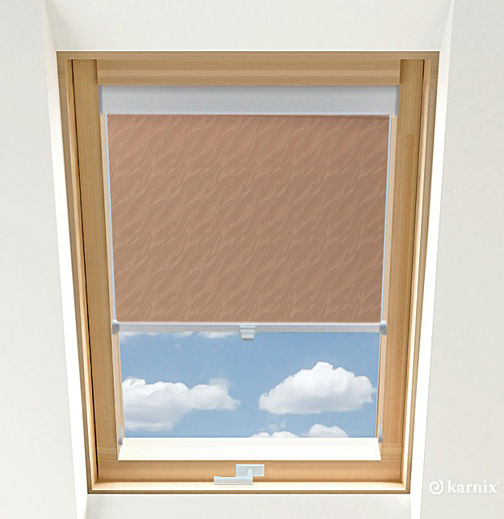 Roleta do okien dachowych BASIC AQUA - Tan / Srebrny