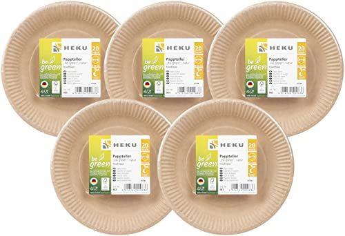 HEKU 30963: 100 bio-papierowych talerzy be Green, okrągłe, Ø 23 cm, świeże włókna, certyfikat FSC,