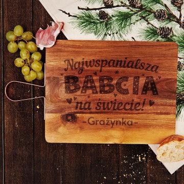 Najwspanialsza babcia - Deska z miedzianą rączką na prezent dla babci