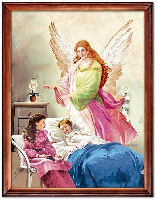 Obraz Anioł Stróż przy łóżeczku
