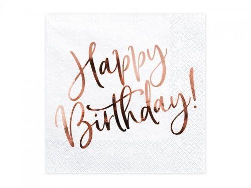 Serwetki urodzinowe Happy Birthday, różowo-złoty napis