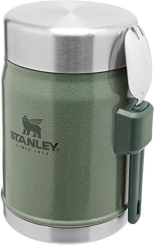 Stanley Classic Legendary Food Jar 0.4L / 14 OZ Hammertone Green with spork  Termos do żywności ze Stali Nierdzewnej BEZ BPA - Utrzymuje zimno lub ciepło przez 7 godzin - Do Mycia w Zmywarce