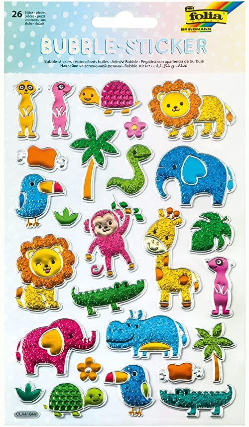 folia 19503  Bubble Sticker III z motywem dzikich zwierząt, z teksturowaną powierzchnią pęcherzykową, 26 sztuk, idealnie nadają się do ozdabiania kartek z życzeniami, prac ręcznych i scrapbookingu
