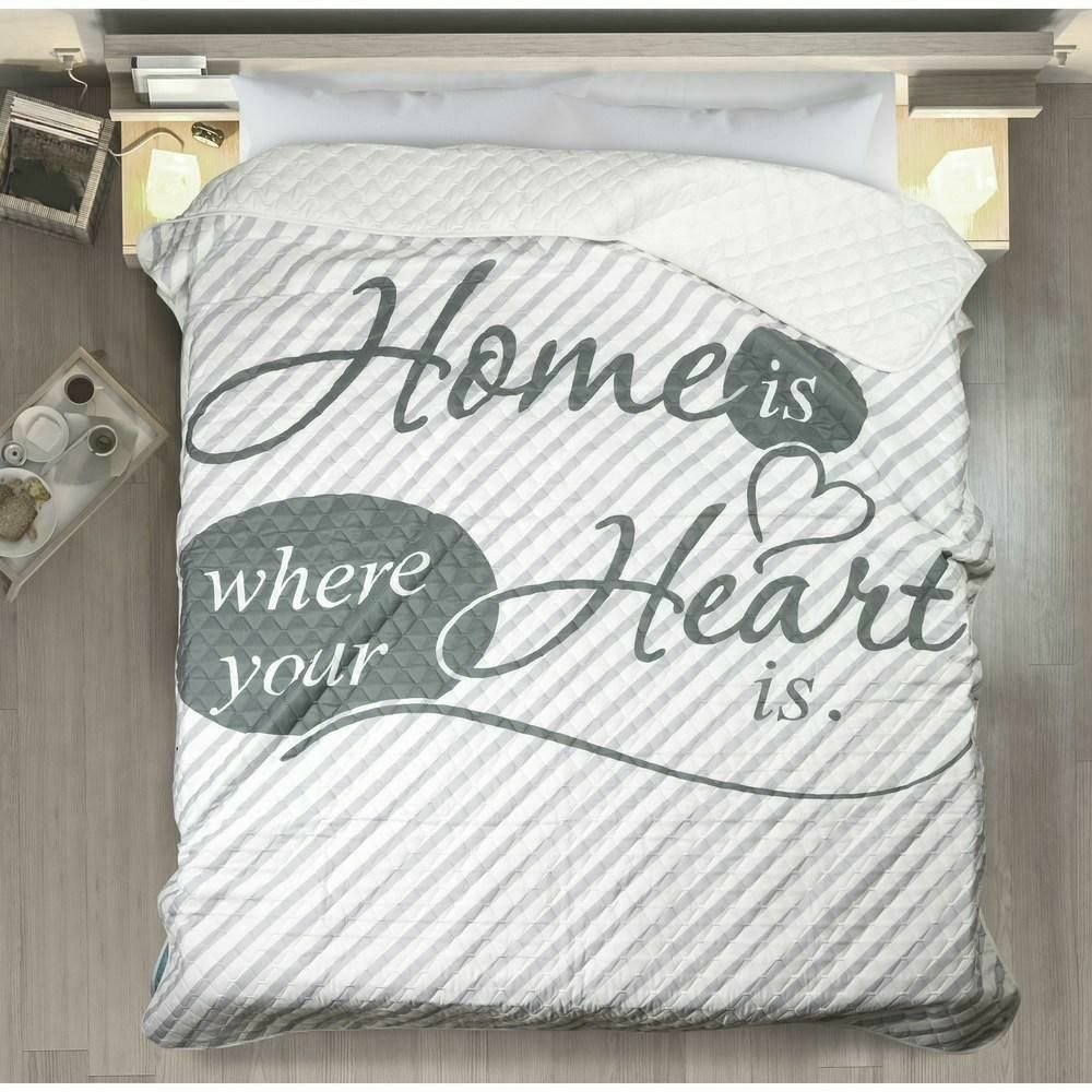 Narzuta dekoracyjna 170x210 Alva home is heart dom jest sercem biała srebrna stalowa paski