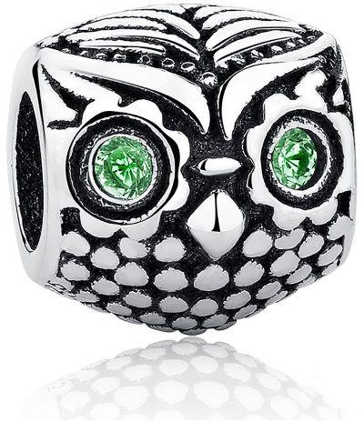Rodowany srebrny charms do pandora sowa sówka ptak bidr owl cyrkonie srebro 925 PAS029