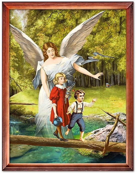 Obraz Anioła Stróża, dzieci na kładce