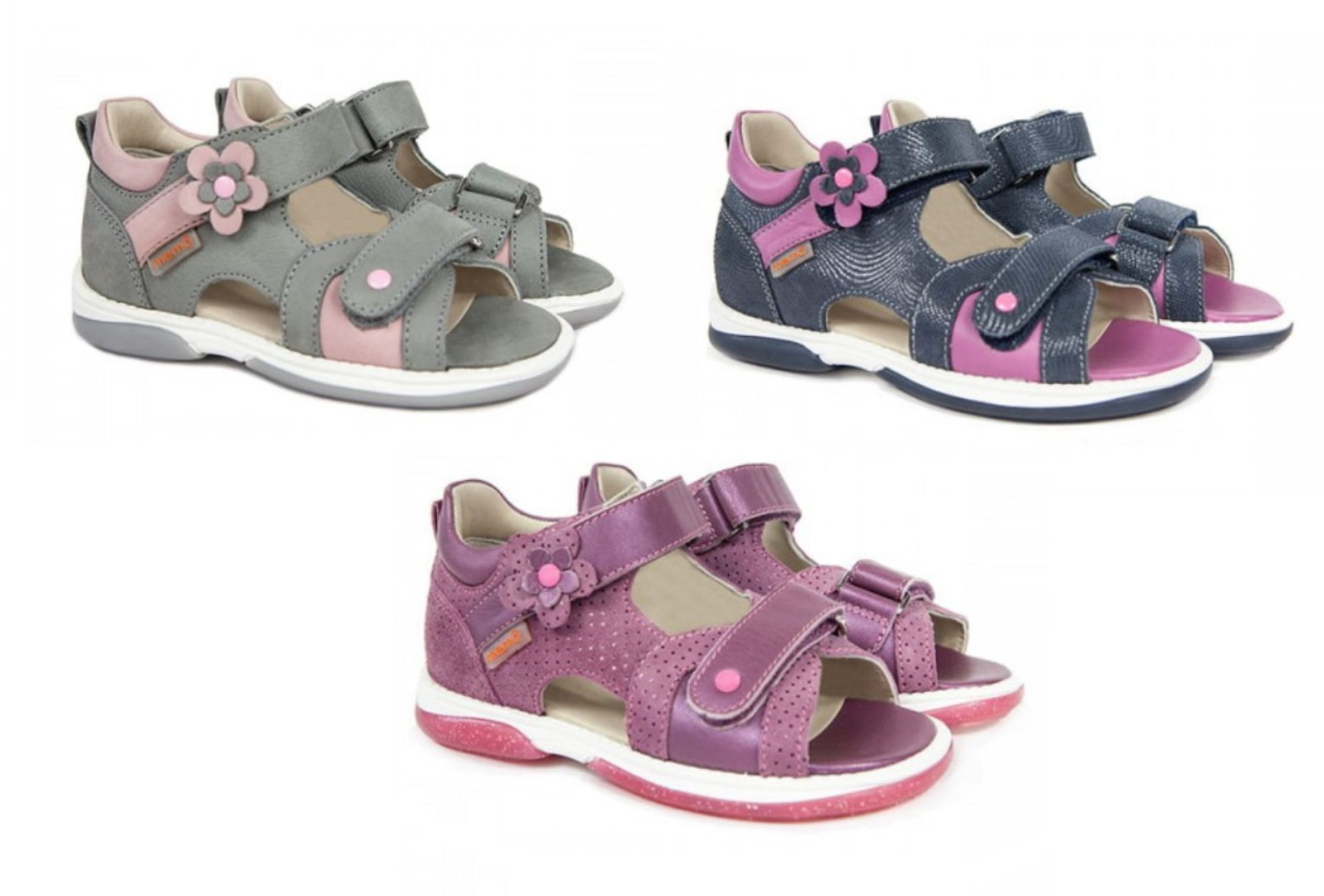 Niskie sandałki dla dziewczynki z podeszwą diagnostyczną + obcas Thomasa - profilaktyczne buty Memo (Kristina)