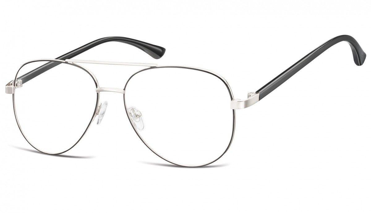 Okulary oprawki Pilotki zerówki metalowe korekcyjne 931 srebrne + czarne
