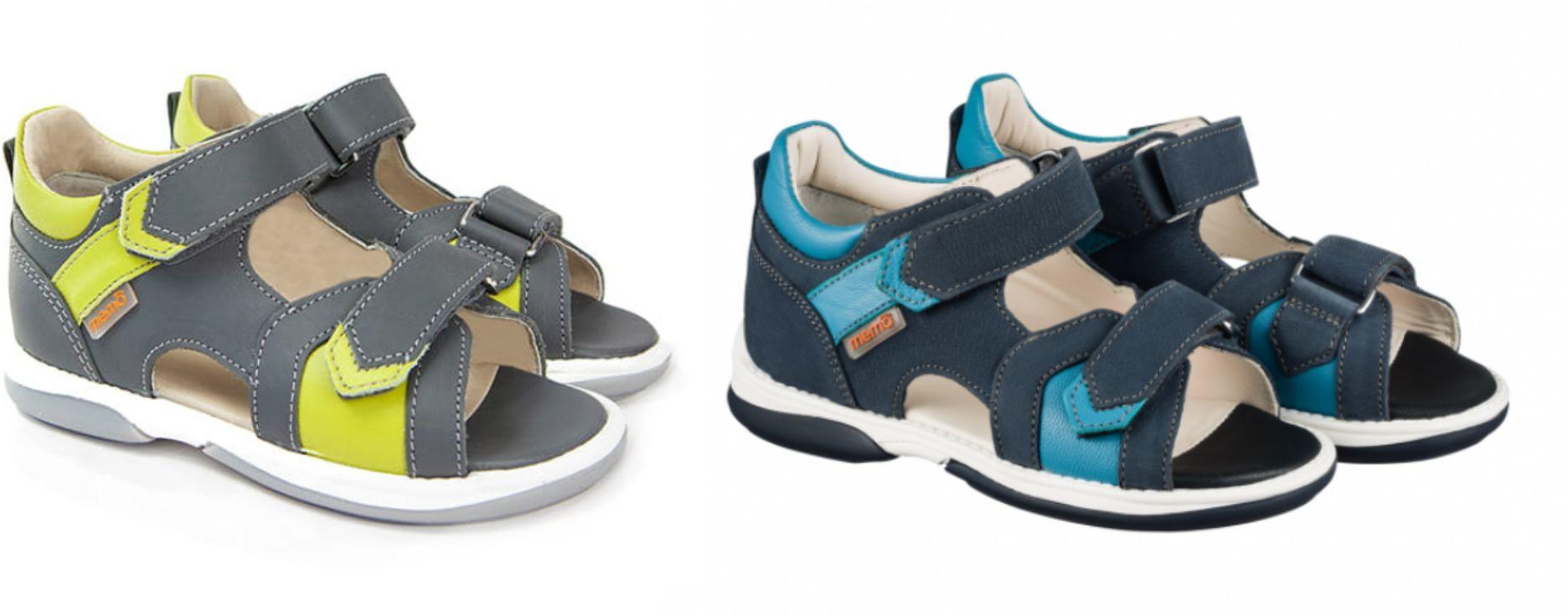 Niskie sandały dla chłopców z podeszwą diagnostyczną + obcas Thomasa - profilaktyczne buty Memo (Kris)