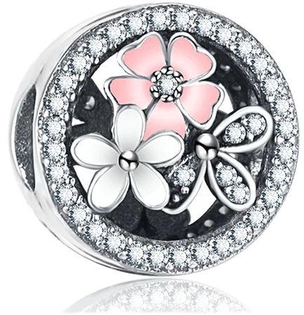 Rodowany otwierany srebrny charms do pandora kwiatki flowers blokada lock cyrkonie srebro 925 LOCK32