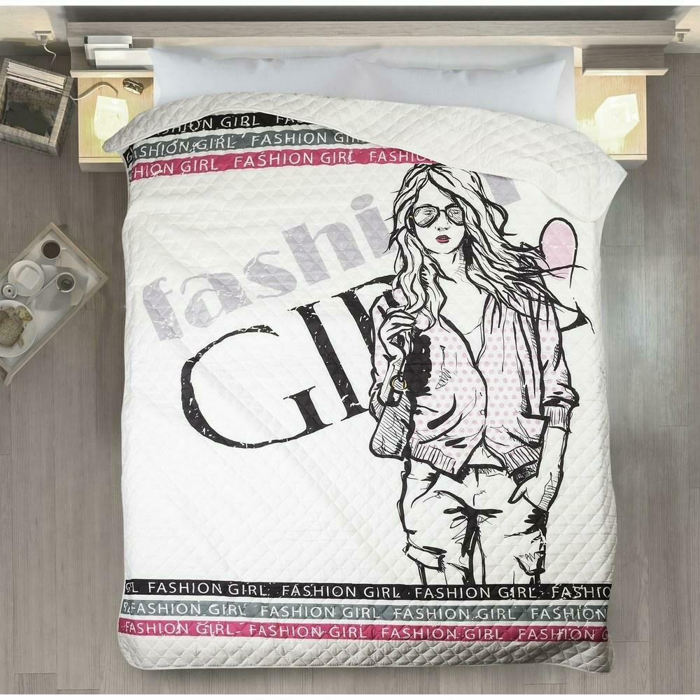 Narzuta dekoracyjna 170x210 Dora fashion girl dziewczyna mody biała różowa czarna