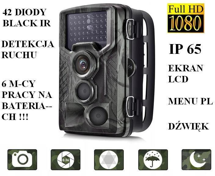 Kamera (Foto-Pułapka) FULL HD (dz.-nocna) Nagrywająca Obraz/Dźwięk + Detekcja Ruchu + Ap. Foto...