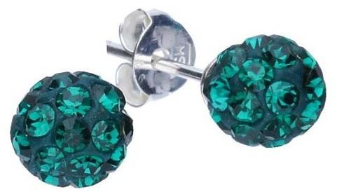 Srebrne kolczyki 925 kulki z zielonymi kryształkami 2,40g