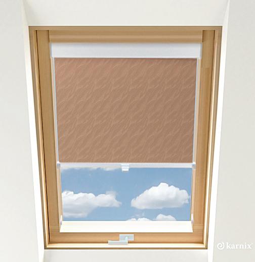 Roleta do okien dachowych - AQUA - Tan / Biały