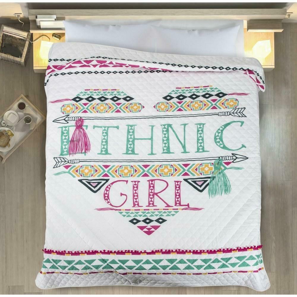 Narzuta dekoracyjna 170x210 Karen ethnic girl etniczna dziewczyna biała różowa