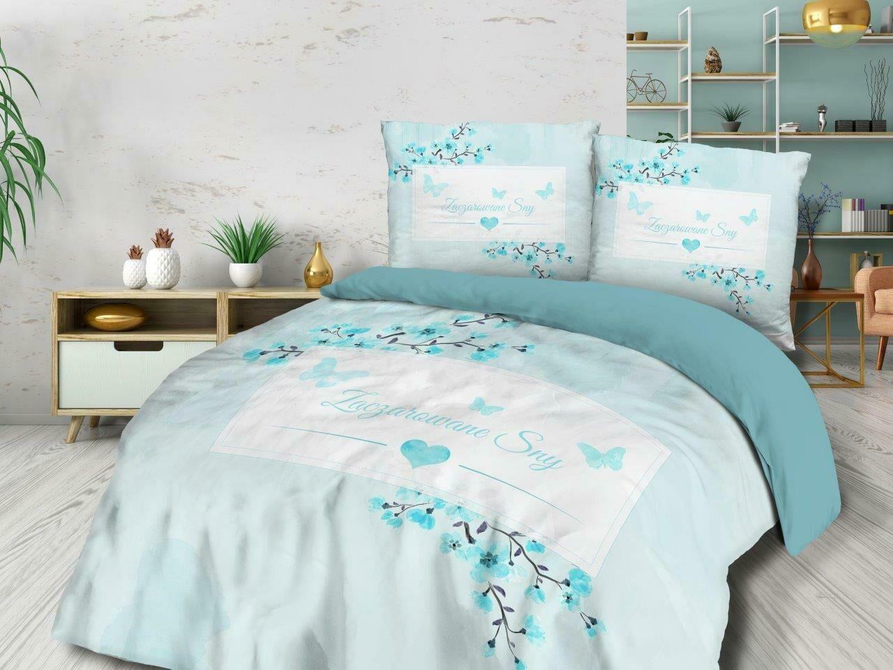 Pościel bawełniana 220x200 61450/1 Zaczarowane sny kwiaty biała niebieska Vintage