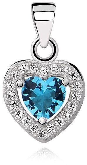 Rodowany srebrny wisiorek serce błękitna cyrkonia akwamaryn białe cyrkonie srebro 925 Z0760C_AQ