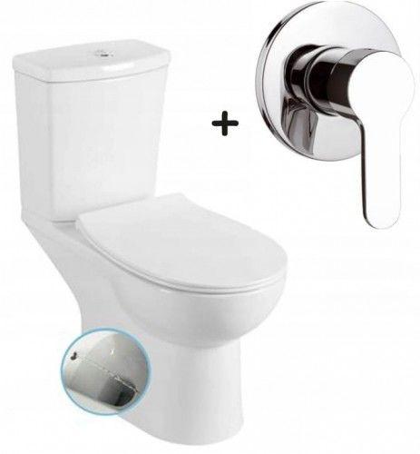Zestaw WC kompakt /bidet 2w1, odpływ poziomy poznański+Bateria podtynkowa