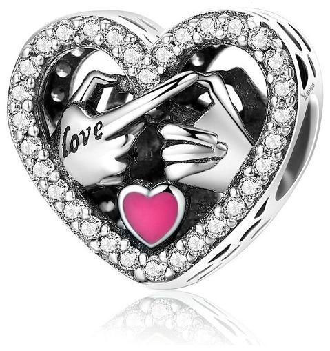 Rodowany srebrny charms pandora serce wyznanie miłości dłonie LOVE cyrkonie srebro 925 CHARM260