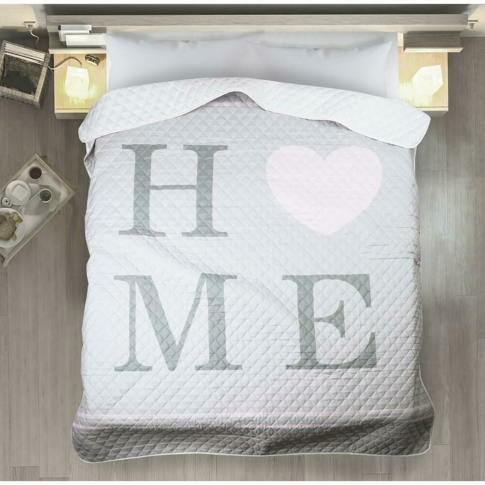 Narzuta dekoracyjna 200x220 Adesa home serce dom miłości srebrna różowa