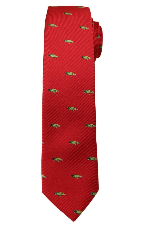 Czerwony Modny Krawat -Angelo di Monti- 6 cm, Męski, w Zielone Papugi, Motyw Zwierzęcy KRADM1451