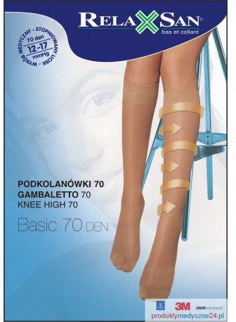 Podkolanówki przeciwżylakowe RelaxSan 70 DEN, ucisk 12-17 mmHg art. 750