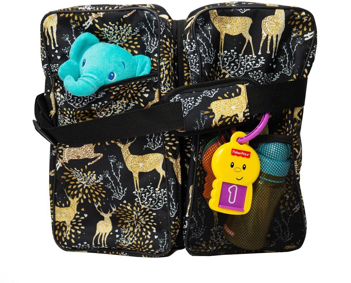 Baby Travel od Sango Trade - złote sarenki na czarnym