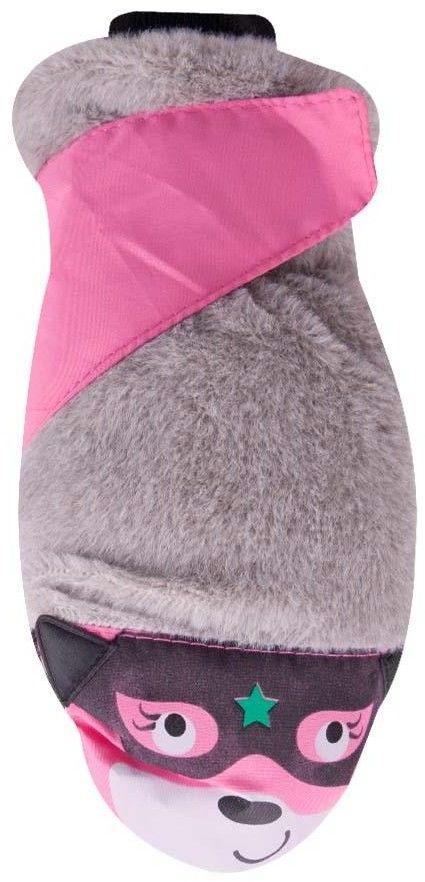 Rękawiczki narciarskie z futerkiem różowa buźka w okularach