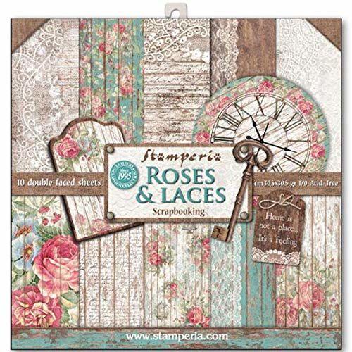 STAMPERIA SBBL25 blok papierowy, 10 arkuszy dwustronnych - róże, koronki i drewno, papier, wielokolorowy, 30,5 x 30,5