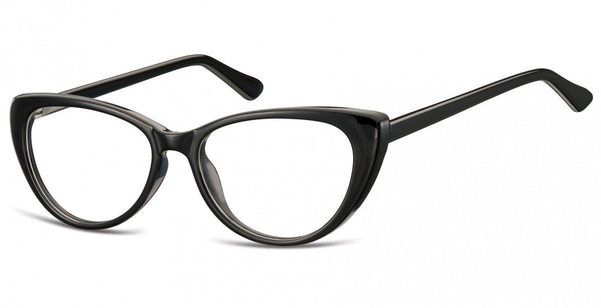 Okulary oprawki korekcyjne Kocie Oczy zerówki Sunoptic CP138 czarne