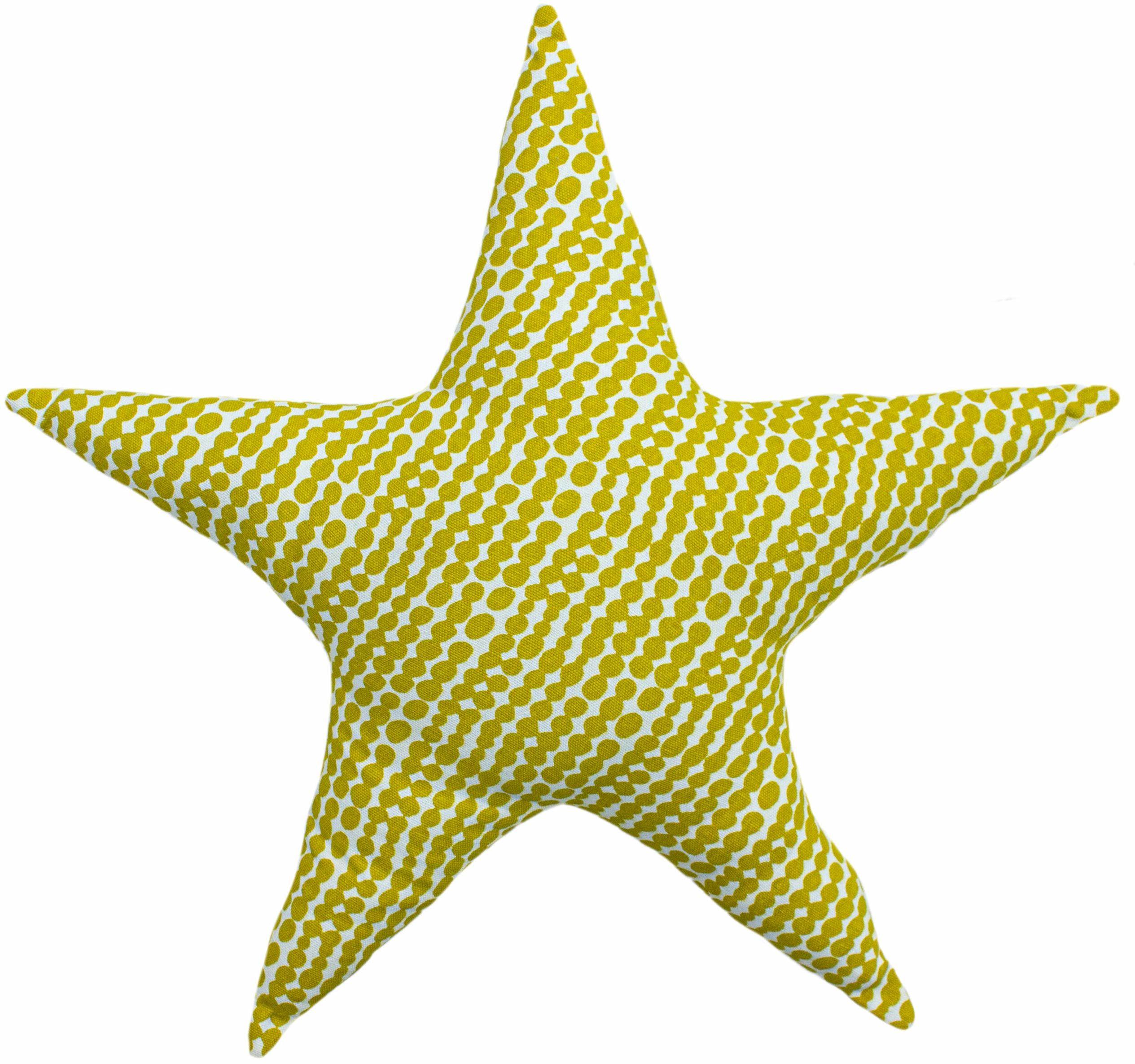little furn. Poduszka z nadrukiem w gwiazdki, musztarda/szara, 40 x 40 x 10 cm