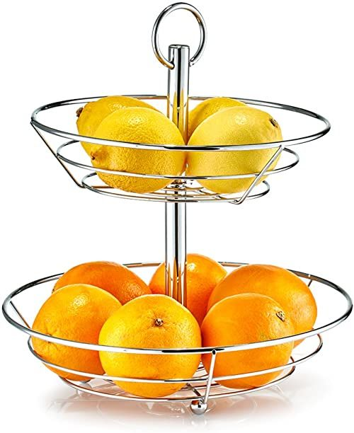 Zeller miska na owoce, metalowa, srebrna, 26 x 29 x 35 cm