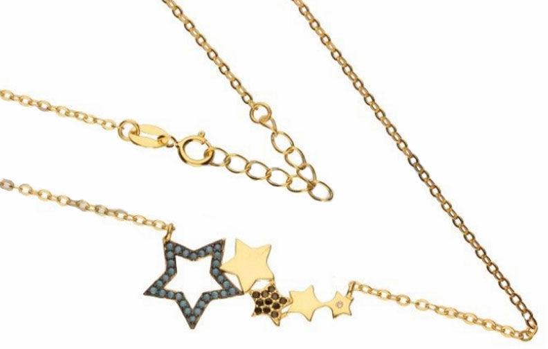 Srebrny naszyjnik 925 pozłacany gwiazdeczki