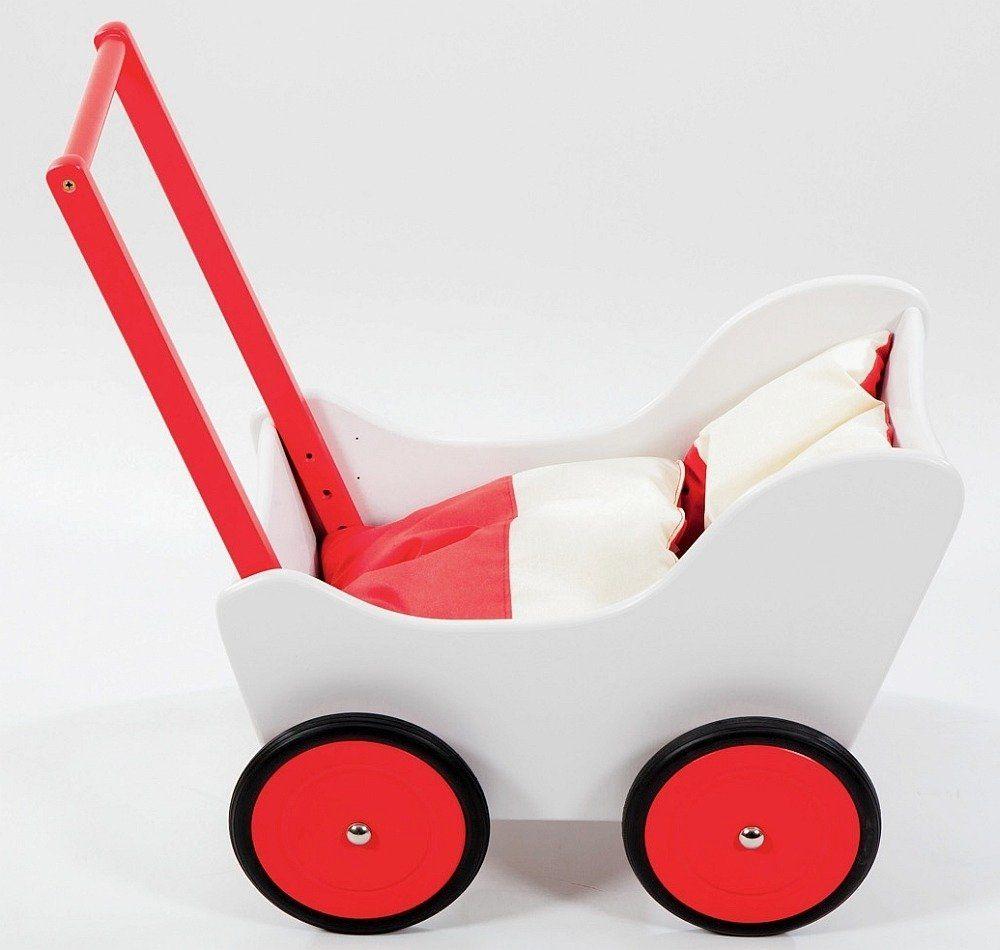 Biało-czerwony wózek z drewna dla lalki - zabawki dla dziewczynek