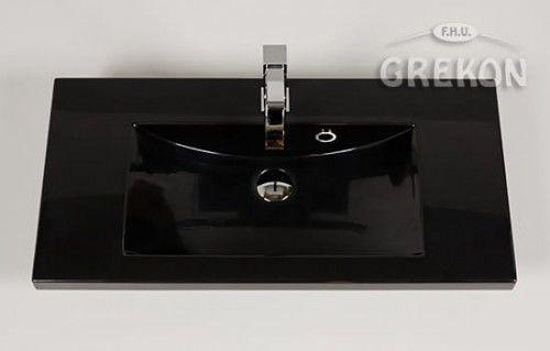 Umywalka dolomitowa Clever 80x39cm czarna, Gante